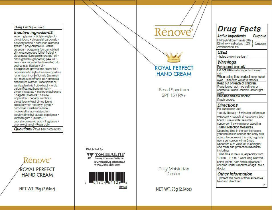 Renove Royal Perfect Hand Broad Spectrum Spf 15 (Ethylhexyl Methoxycinnamate, Ethylhexyl Salicylate, Avobenzone) Cream [Ys Health Corp.]