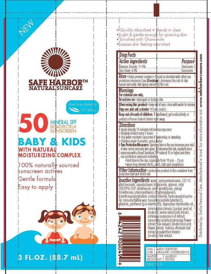 Safe Harbor – Natural Sunscreen – Baby And Kids Spf50 Broad Spectrum Sunscreen (Titanium Dioxide, Zinc Oxide) Cream [Emilia Personal Care Inc.]