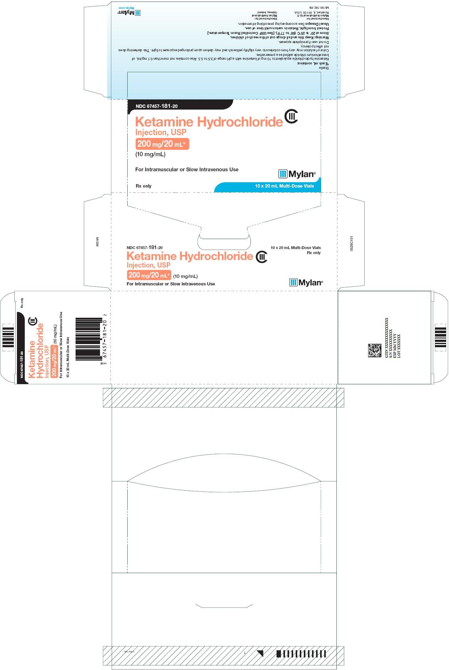 Ketamine Hydrochloride Injection 200 mg/20 mL Carton Label