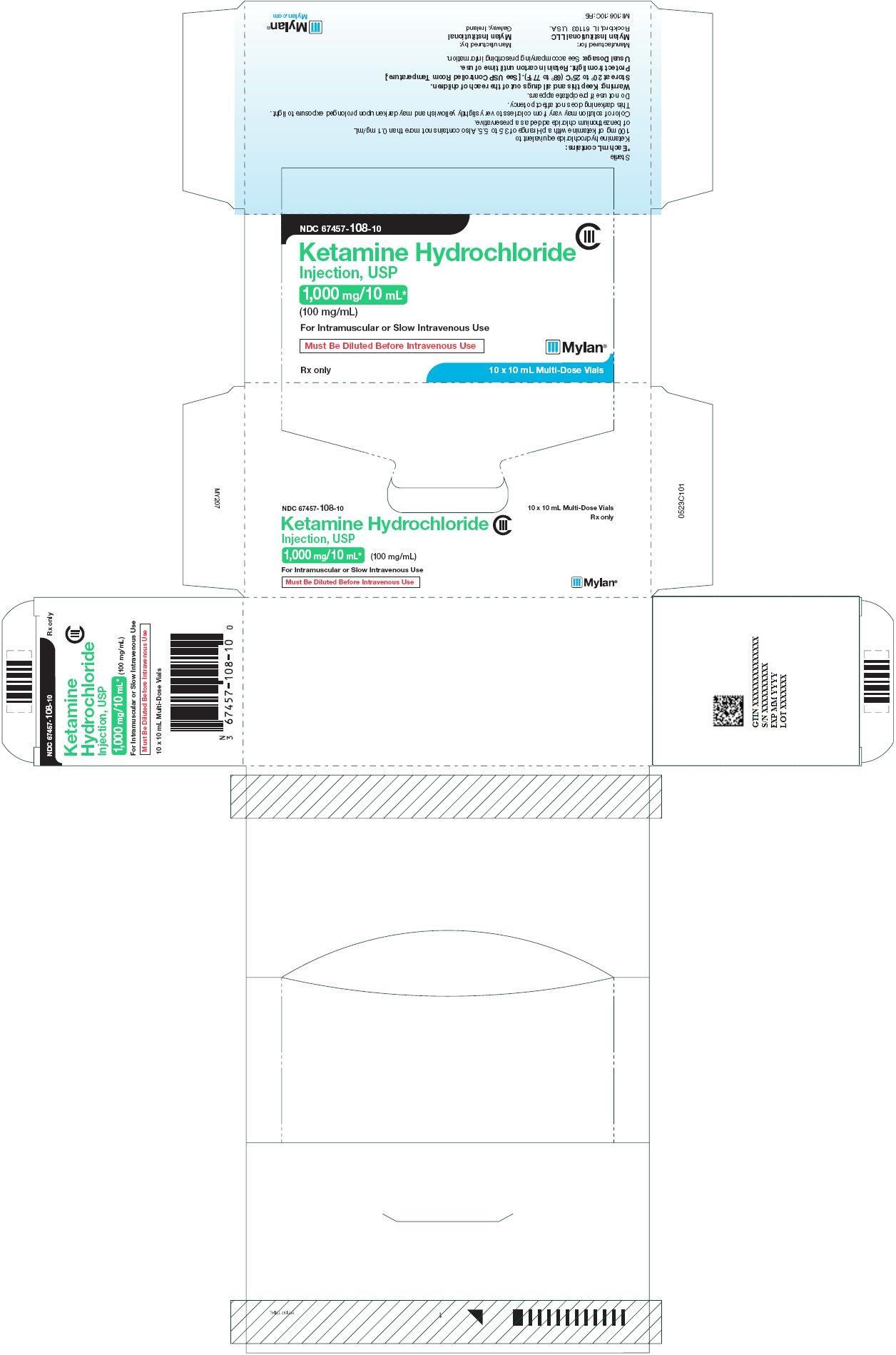 Ketamine Hydrochloride Injection 1000 mg/10 mL Carton Label