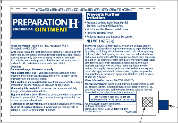 Preparation H (Mineral Oil, Petrolatum, Phenylephrine Hcl) Ointment [Pfizer Consumer Healthcare]