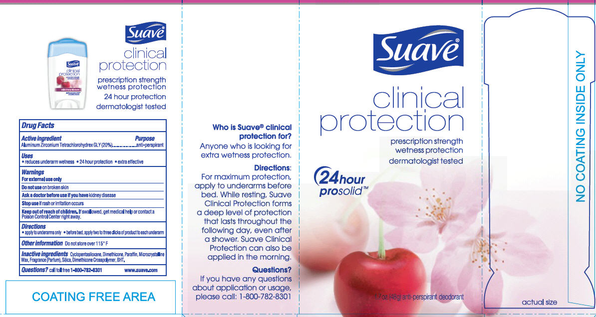 Suave Clinical Protection Wild Cherry Blossom Antiperspirant And Deodorant (Aluminum Zirconium Tetrachlorohydrex Gly) Stick [Conopco Inc. D/b/a Unilever]