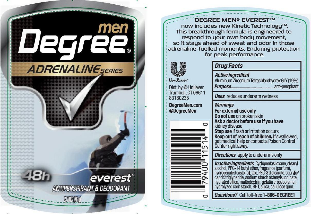 Degree Men Everest Antiperspirant And Deodorant (Aluminum Zirconium Tetrachlorohydrex Gly) Stick [Conopco Inc. D/b/a Unilever]