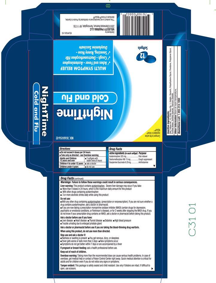 Nighttime Cold And Flu (Acetaminophen,dextromethorphan,doxylamine) Capsule, Liquid Filled [Velocity Pharma]