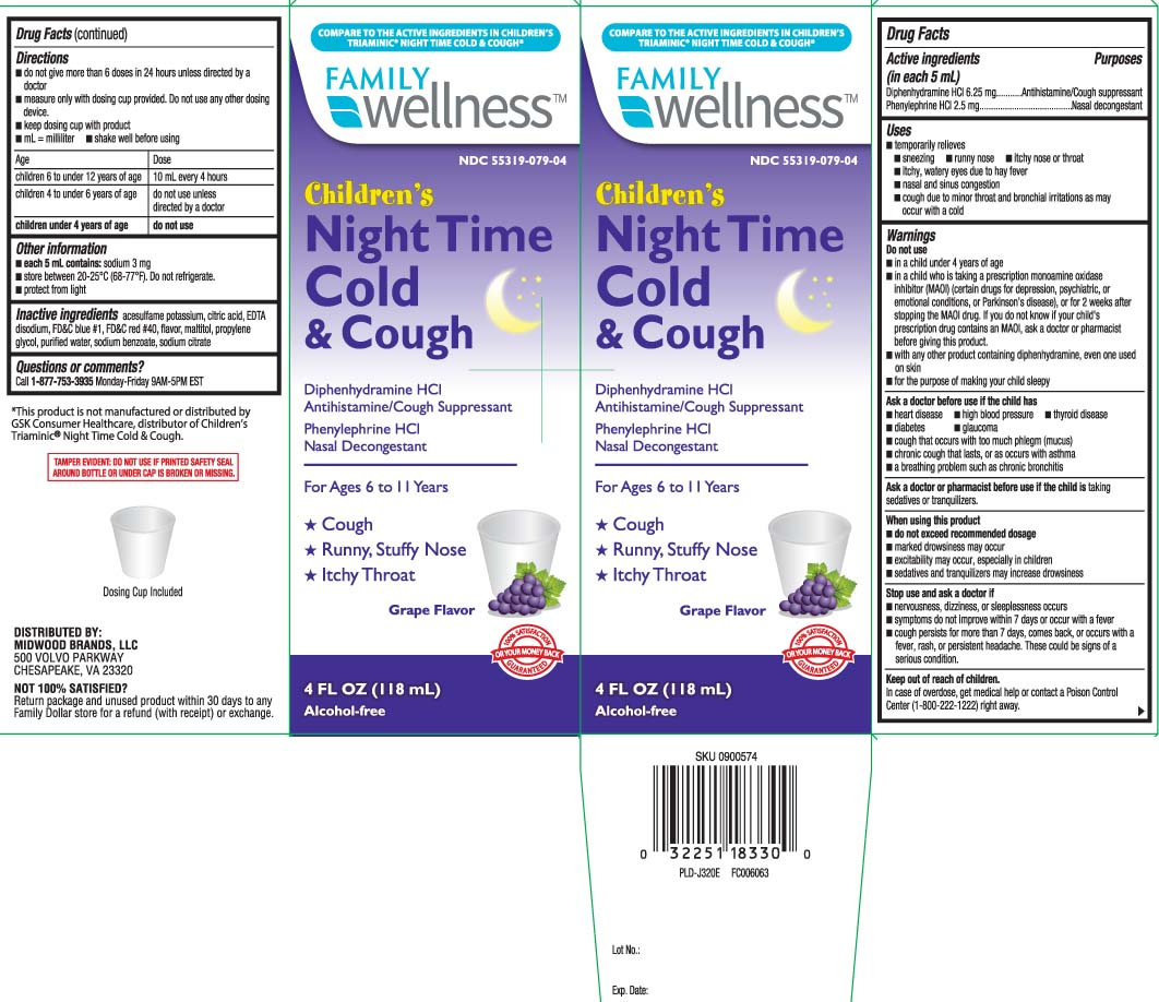 Childrens Cold And Cough Nighttime (Diphenhydramine Hcl, Phenylephrine Hcl) Liquid [Family Dollar (Family Wellness)]