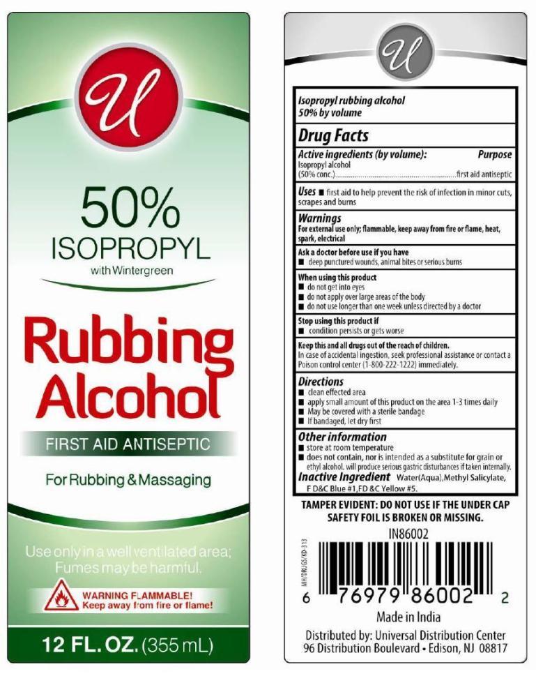 Isopropyl Rubbing Alcohol 50% With Wintergreen (Isopropyl Alcohol) Liquid [ Universal Distribution Center Llc]