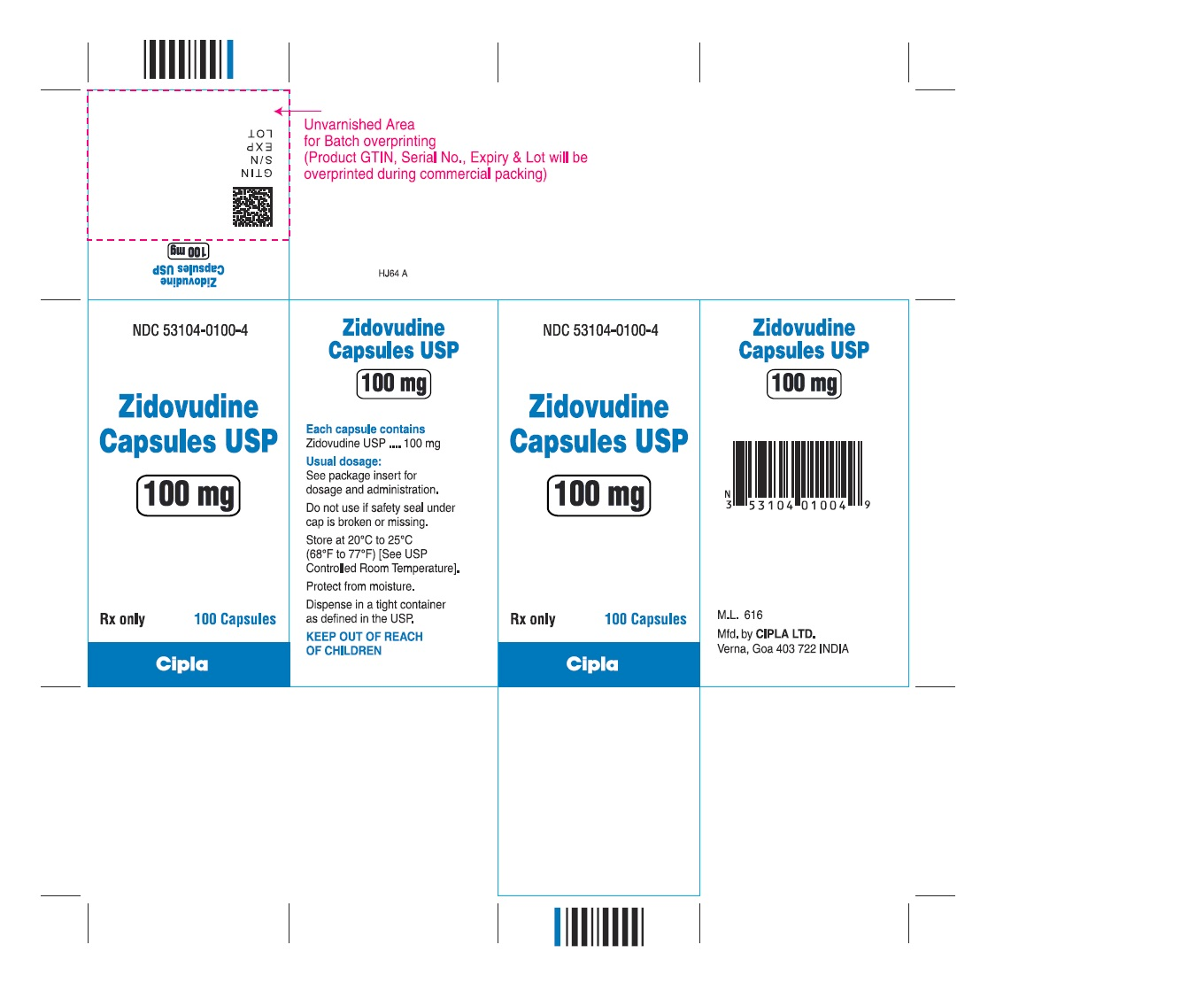 zidovudine capsules USP 100 mg - 100s count bottle label