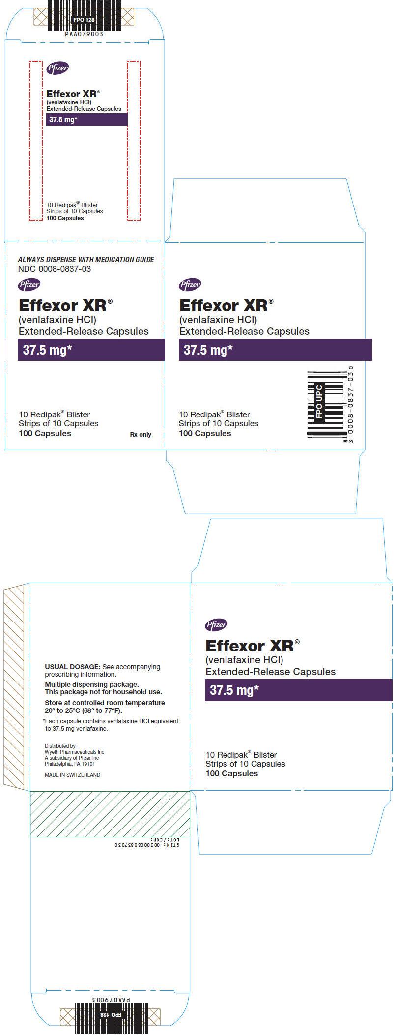 Principal Display Panel - 37.5 mg Capsule Blister Pack Carton