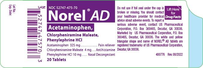 Norel Ad (Acetaminophen, Chlorpheniramine Maleate, And Phenylephrine Hcl) Tablet, Multilayer [Us Pharmaceutical Corporation]