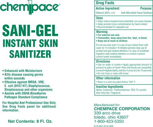 Chempace Sani-gel Instant Skin Sanitizer (Ethanol) Gel [Chempace Corporation]