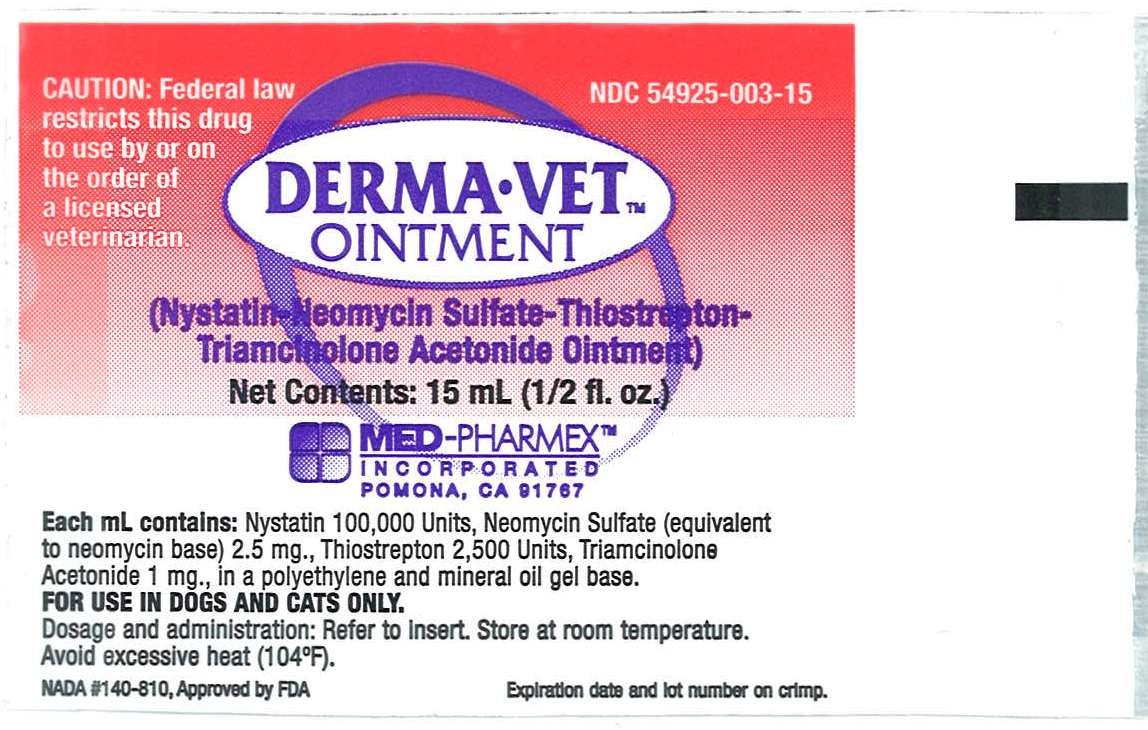 Derma-vet (Nystatin, Neomycin Sulfate, Thiostrepton And Triamcinolone Acetonide) Ointment [Med-pharmex, Inc.]