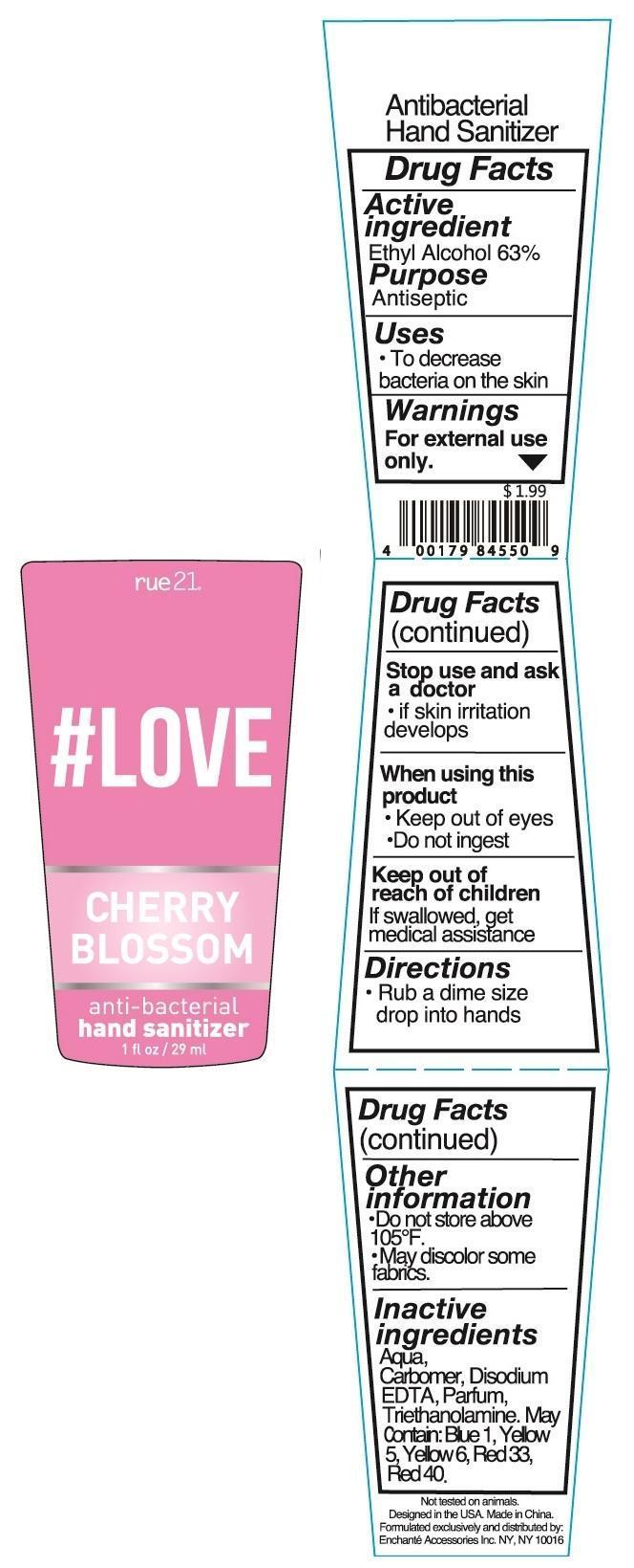 Rue 21 Love Cherry Blossom Anti Bacterial Hand Sanitizer (Alcohol) Liquid [Enchante Accessories Inc. ]