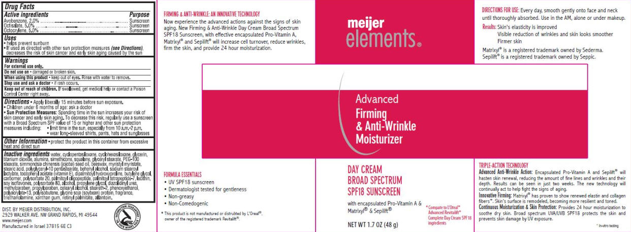 Meijer Elements Advanced Firming And Anti-wrinkle (Avobenzone, Octisalate And Octocrylene) Cream [Meijer Distribution Inc.]