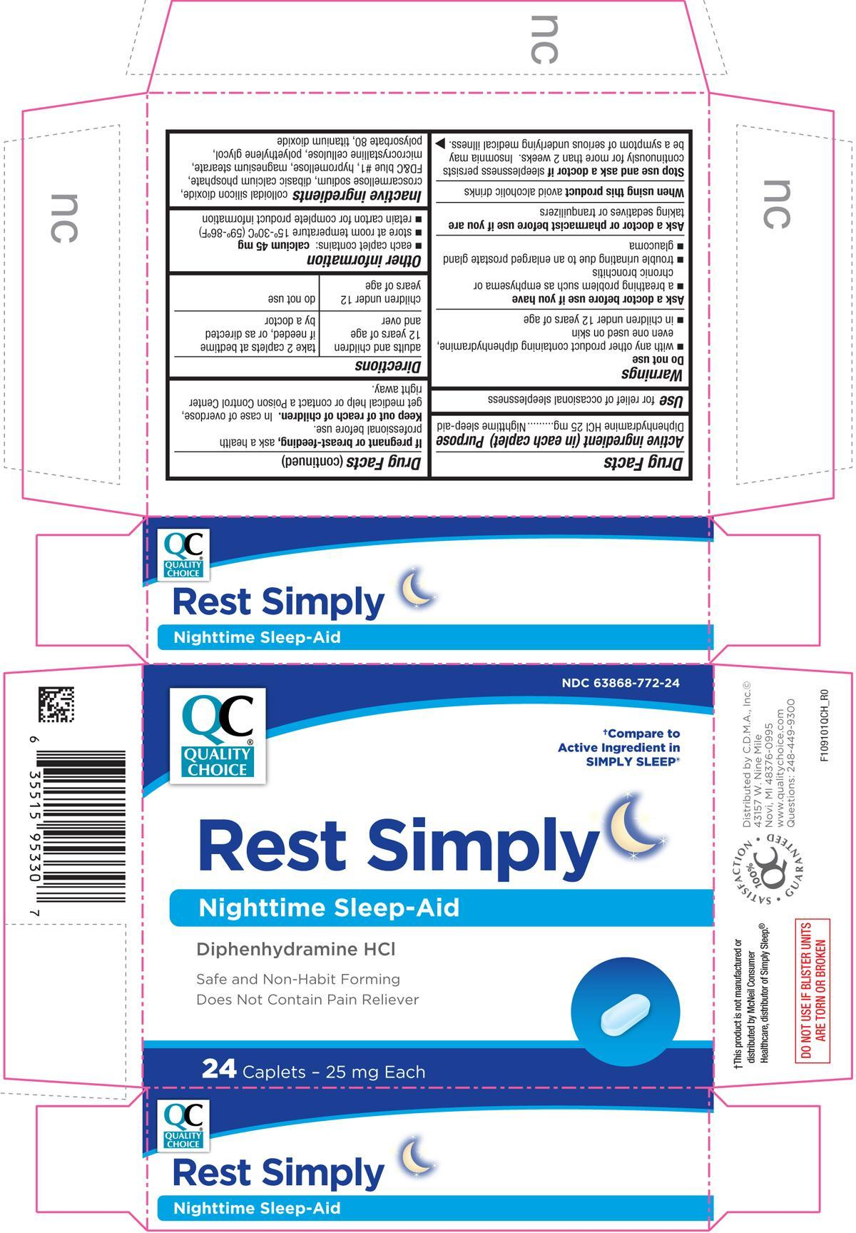 Rest Simply (Diphenhydramine Hydrochloride) Tablet, Coated [Chain Drug Marketing Association]