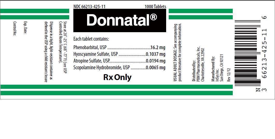 Donnatal (Phenobarbital, Hyoscyamine Sulfate, Atropine Sulfate, Scopolamine Hydrobromide) Tablet [Pbm Pharmaceuticals Inc.]