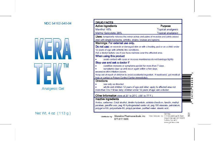 Keratek (Menthol, Methyl Salicylate) Gel [Geritrex Corp]