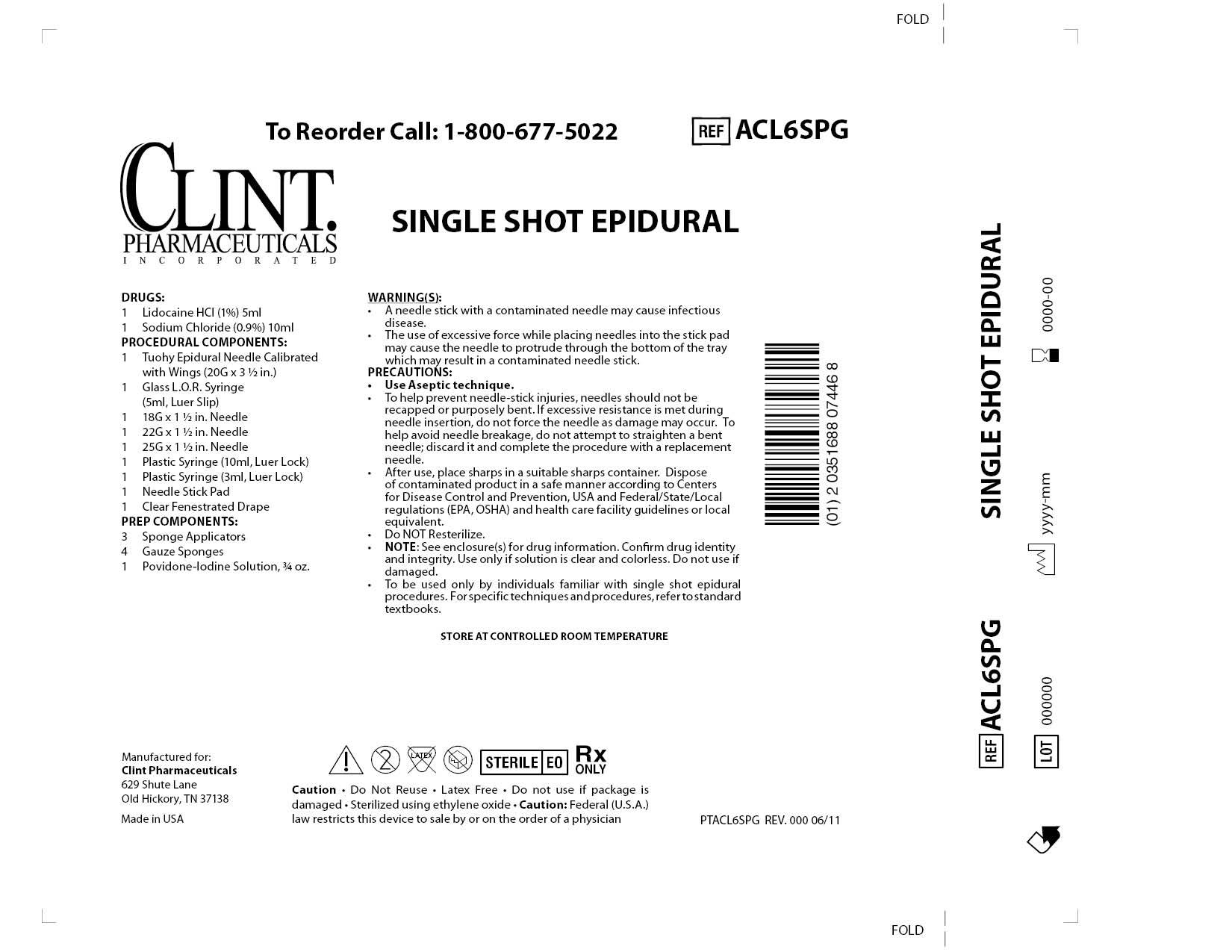 Acl6spg Single Shot Epidural () Kit [Clint Pharmaceuticals, Inc.]