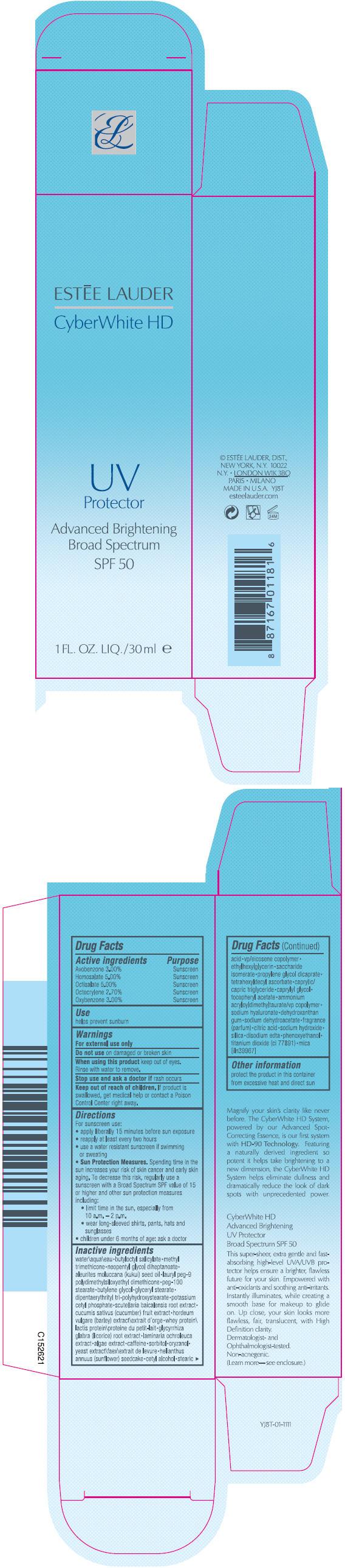 Cyberwhite Hd Uv Protector Broad Spectrum Spf 50 (Avobenzone, Homosalate, Octisalate, Octocrylene, And Oxybenzone) Lotion [Estee Lauder Inc]
