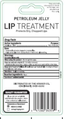 Kroger Petroleum Jelly Lip Treatment - Back of Card