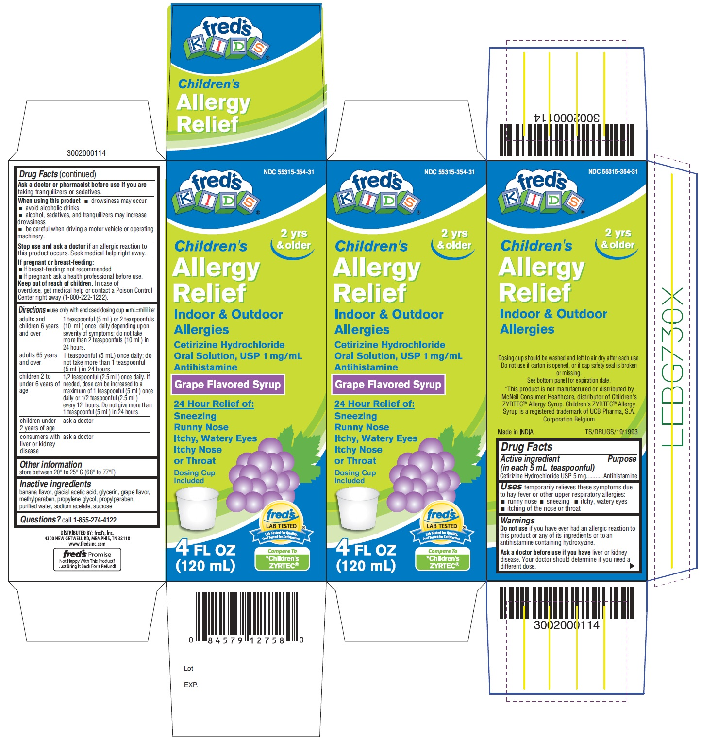 Childrens Allergy Relief (Cetirizine Hydrochloride) Solution [Fred's, Inc.]