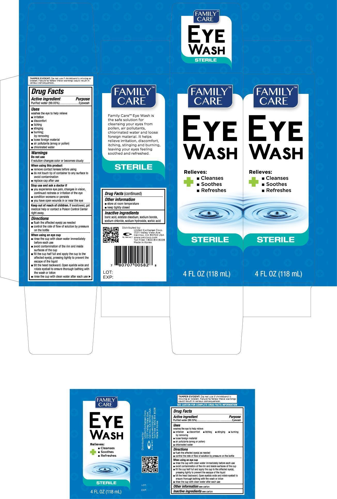 Family Care Eye Wash (Purified Water) Solution [United Exchange Corp.]