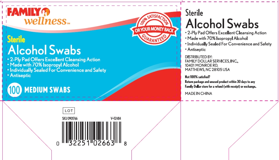 Family Wellness Sterile Alcohol (Isopropyl Alcohol) Swab [Family Dollar Services Inc]