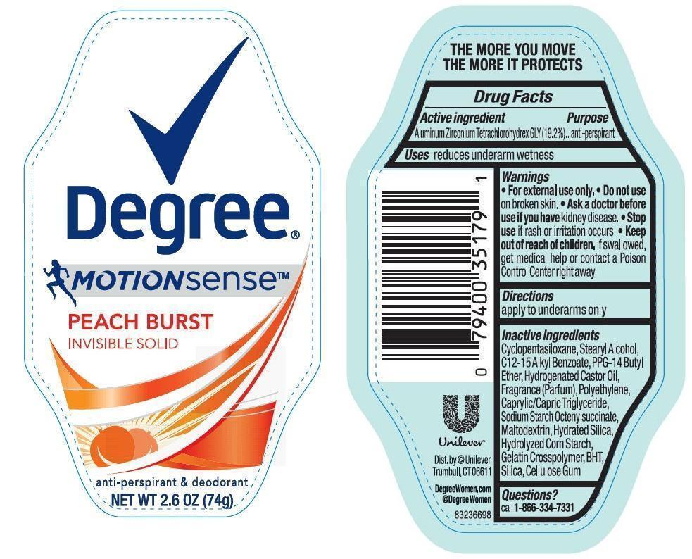 Degree Motion Sense Peach Burst Antiperspirant And Deodorant (Aluminum Zirconium Tetrachlorohydrex Gly) Stick [Conopco Inc. D/b/a Unilever]
