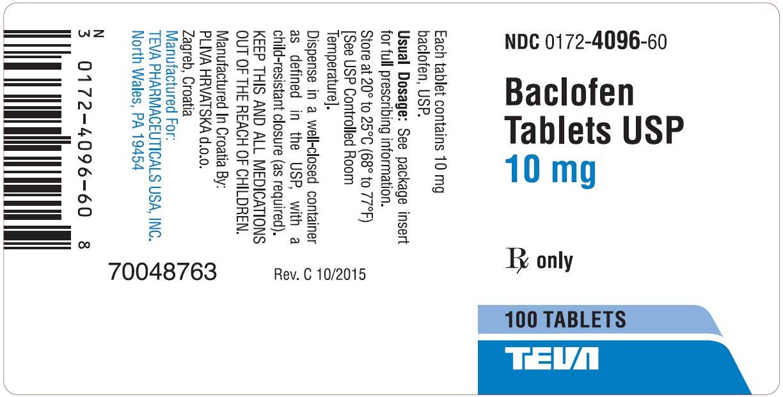 Baclofen Tablets USP 10 mg 100s Label