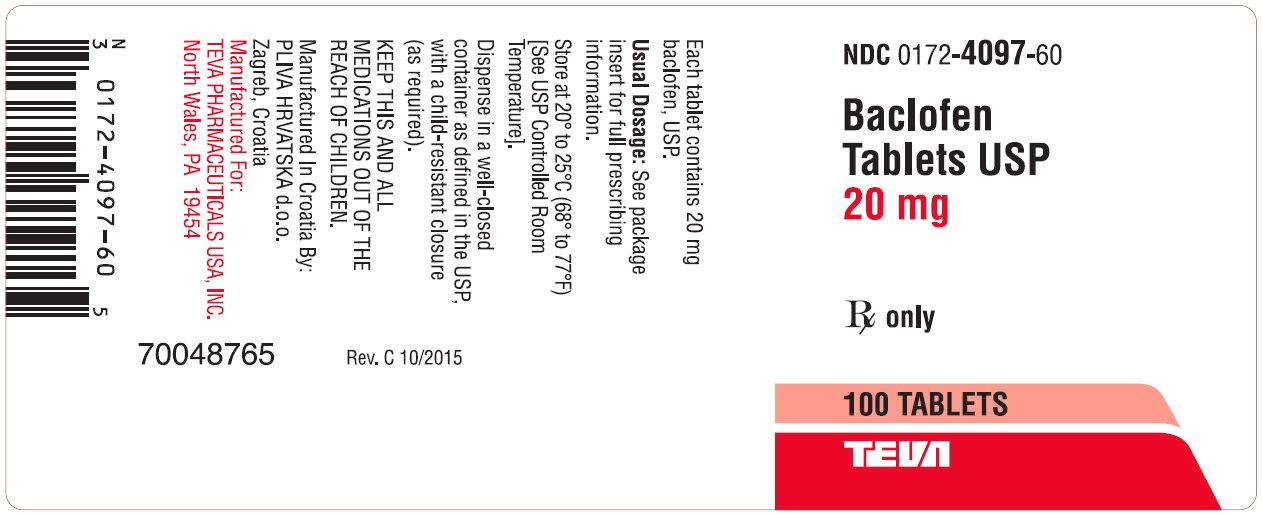 Baclofen Tablets USP 20 mg 100s Label
