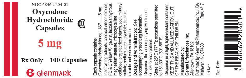 Oxycodone Hydrochloride Capsule [Glenmark Generics, Inc]