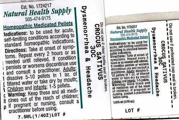 Dysmenorrhea Headache (Saffron) Pellet [Natural Health Supply]