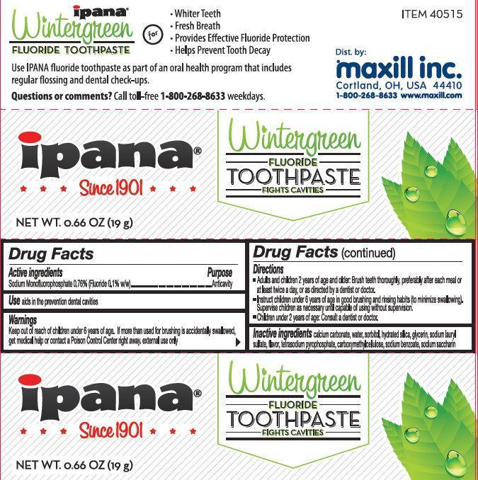 Ipana Wintergreen Fluoride (Sodium Monofluorophosphate) Paste [Maxill Inc.]