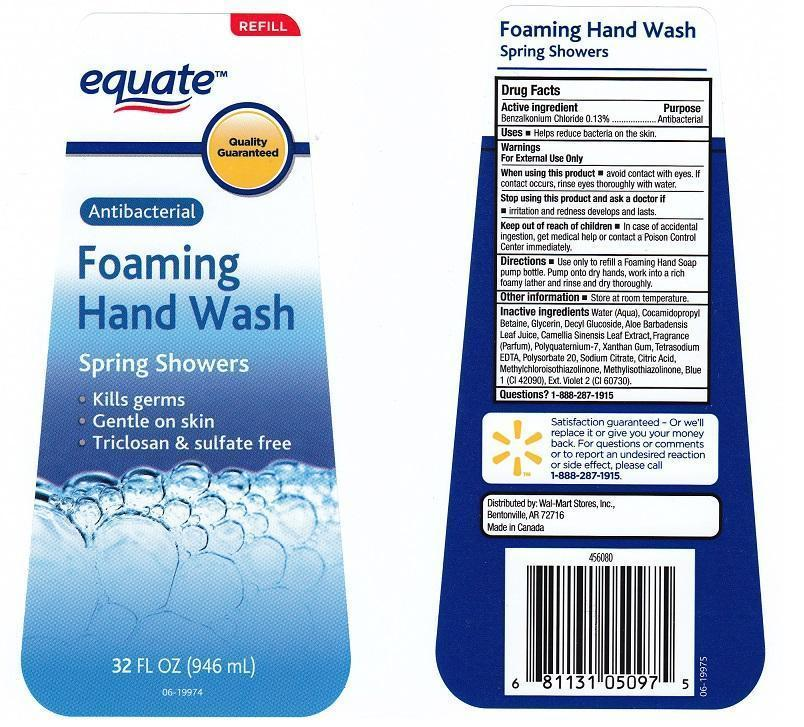 Equate Antibacterial Foaming Hand Spring Showers (Benzalkonium Chloride) Liquid [Wal-mart Store Inc]