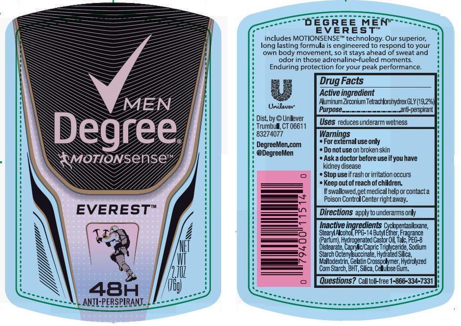 Degree Motionsense Everest Antiperspirant Deodorant (Aluminum Zirconium Tetrachlorohydrex Gly) Stick [Conopco Inc. D/b/a Unilever]