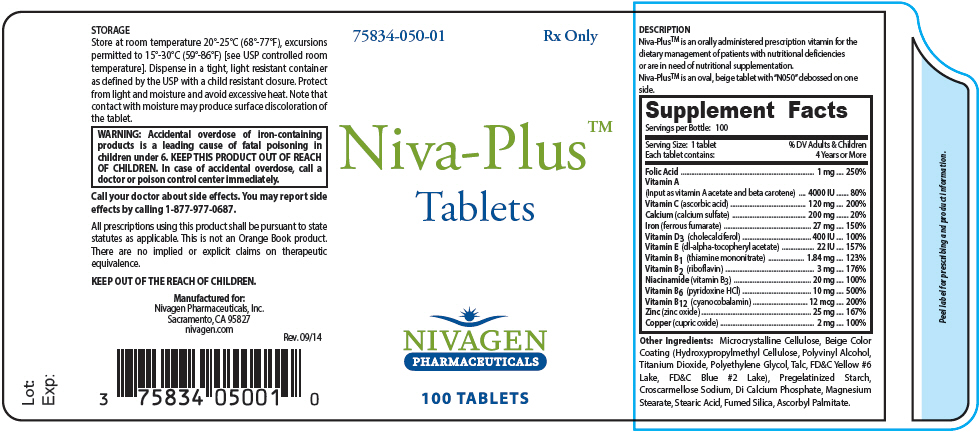 Niva-plus (Folic Acid, Vitamin A, Ascorbic Acid, Calcium Sulfate, Ferrous Fumarate, Cholecalciferol, .alpha.-tocopherol Acetate, Dl-, Thiamine Mononitrate, Riboflavin, Niacinamide, Pyridoxine Hydrochloride, Cyanocobalamin, Zinc Oxide, And Cupric Oxide) Tablet, Coated [Nivagen Pharmaceuticals, Inc.]
