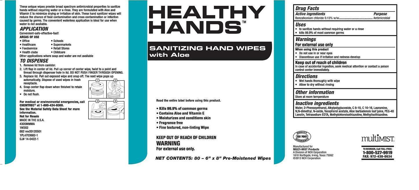 Healthy Hands Sanitizing Hand Wipes With Aloe (Benzalkonium Chloride) Cloth [Nch Corporation]