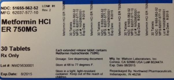 Metformin Hydrochloride Er Tablet [Northwind Pharmaceuticals]