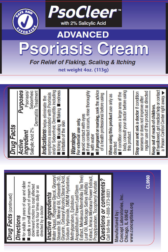 Psocleer Advanced Psoriasis (Salicylic Acid) Cream [Concept Laboratories, Inc.]