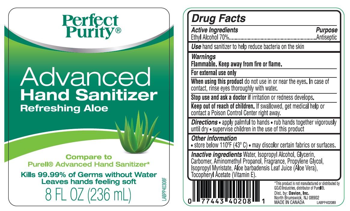 Perfect Purity Advanced Hand Refreshing Aloe (Alcohol) Gel [Davion, Inc]