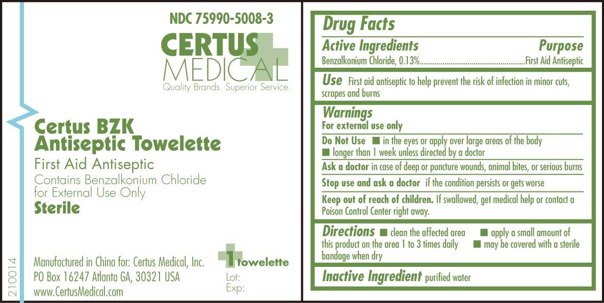 Certus Bzk Antiseptic Towelette (Benzalkonium Chloride) Swab [Certus Medical, Inc.]