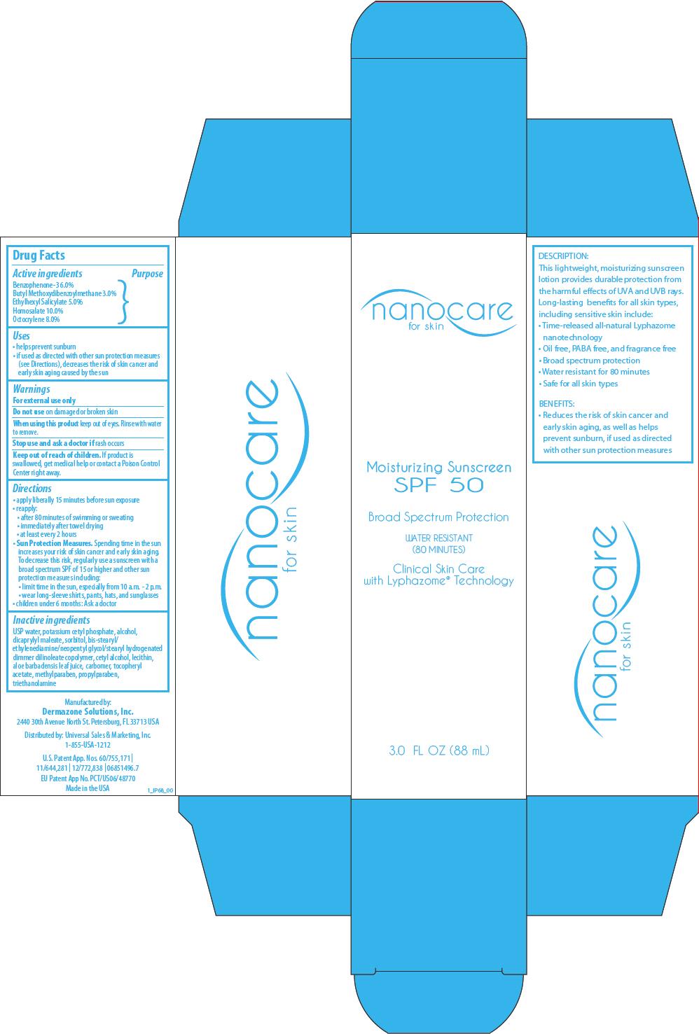 Nanocare Moisturizing Sunscreen Spf 50 (Benzophenone, Avobenzone, Octisalate, Homosalate, And Octocrylene) Lotion [Deramzone Solutions, Inc.]