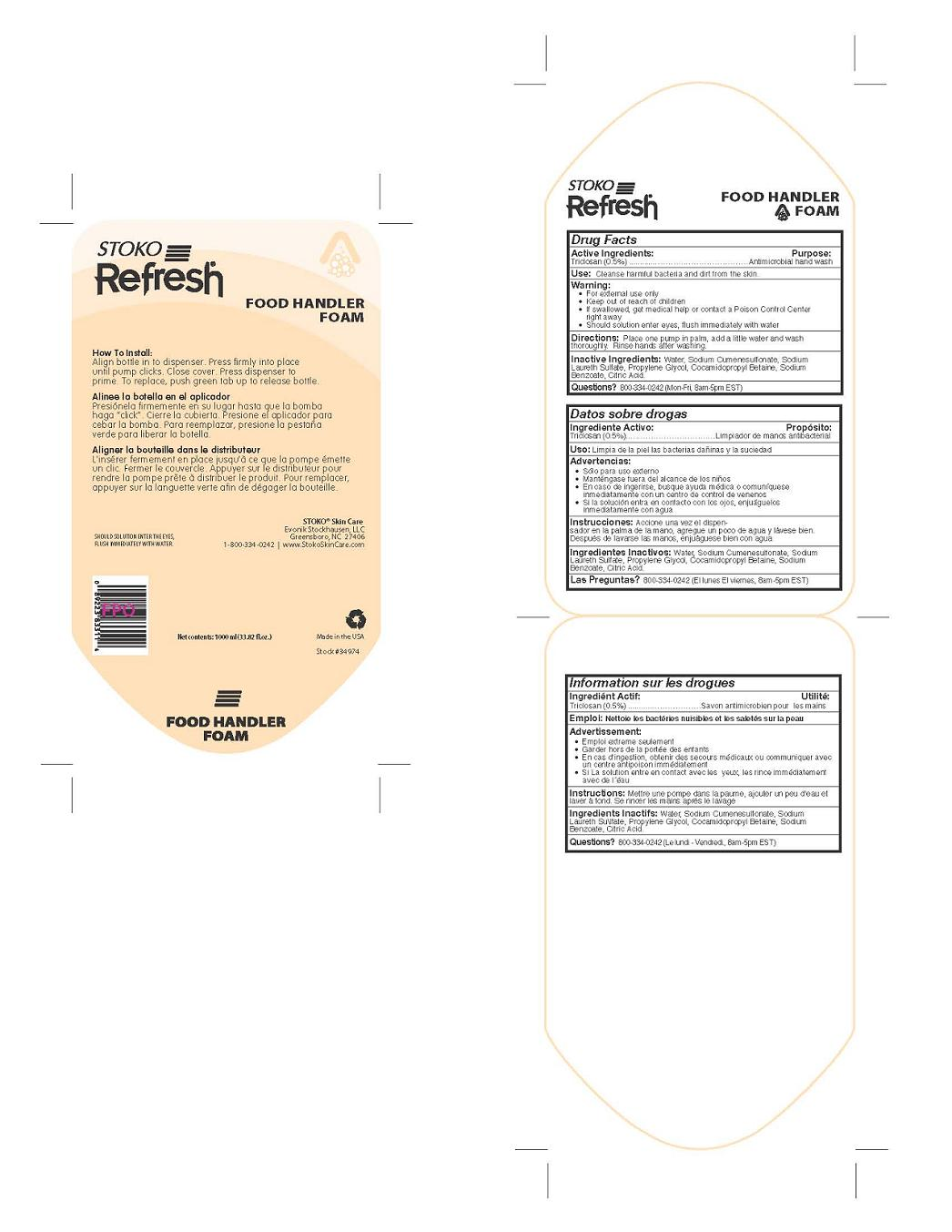 Stoko Refresh Food Handler Foam (Triclosan) Liquid [Evonik Stockhausen, Llc]