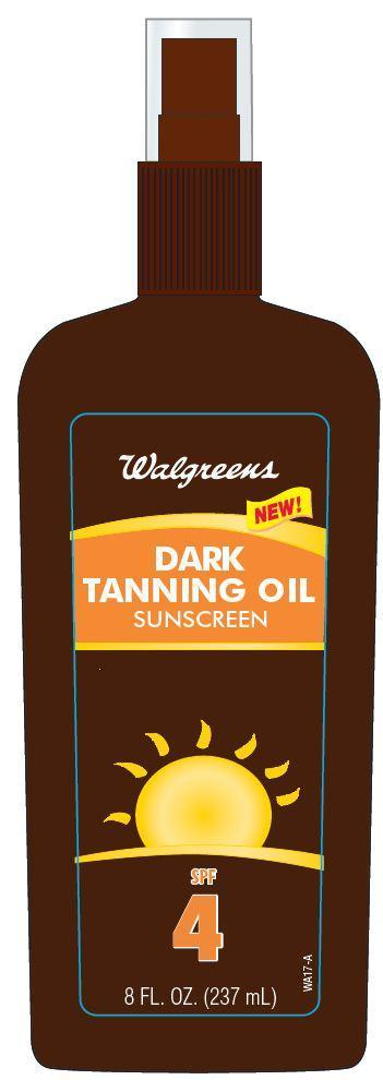 Walgreens Dark Tanning Oil Sunscreen Spf 4 (Octinoxate) Spray [Walgreen Co.]