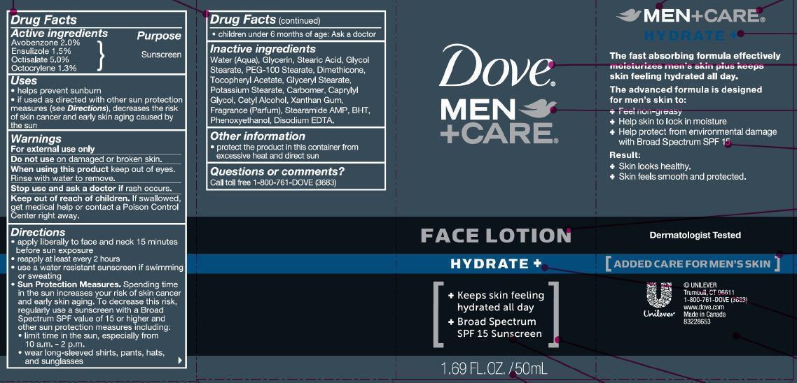 Dove Men Plus Care Hydrate Face (Avobenzone, Ensulizole, Octisalate, Octocrylene) Lotion [Conopco Inc. D/b/a Unilever]