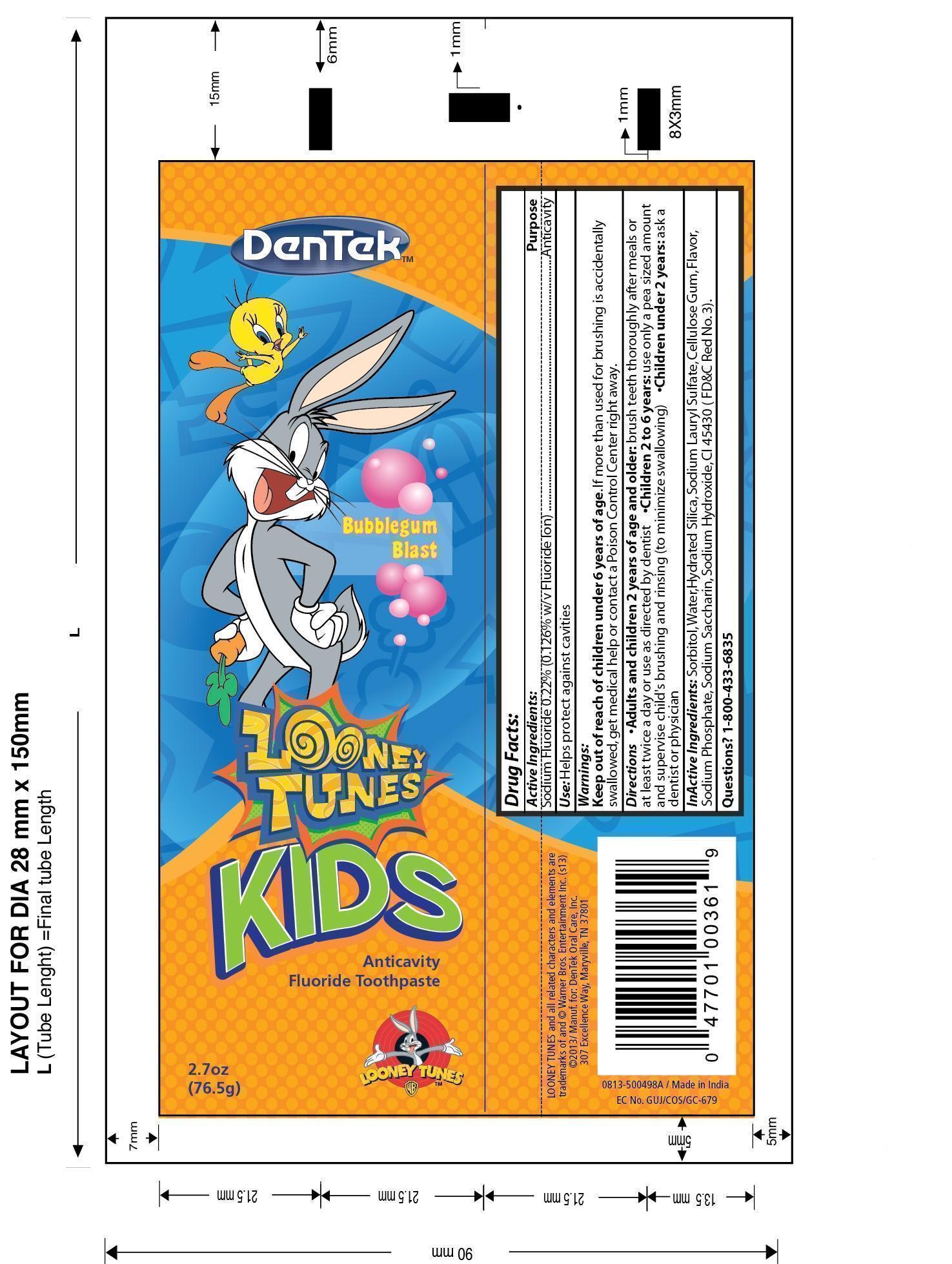 Dentek Kids Anticavity Fluoride Looney Tunes Bubblegum Blast (Sodium Fluoride) Paste, Dentifrice [Dentek Oral Care, Inc.]