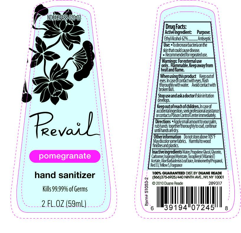 Prevail Pomegranate Hand Sanitizer (Ethyl Alcohol) Gel [Duane Reade]