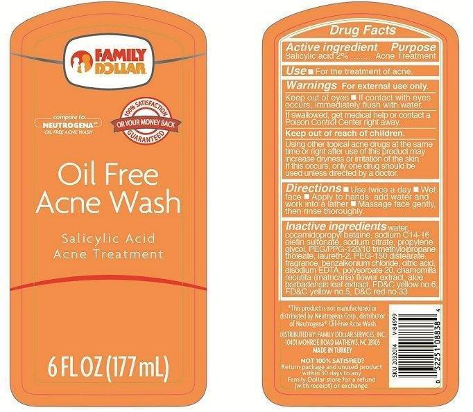 Family Dollar Oil Free Acne Wash (Salicylic Acid) Liquid [Family Dollar Services Inc.]