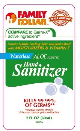 Waterless Aloe Scented Hand Sanitizer (Alcohol) Gel [Family Dollar Services Inc. ]