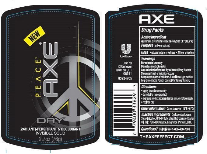 Axe Dry Peace Antiperspirant Deodorant (Aluminum Zirconium Tetrachlorohydrex Gly) Stick [Conopco Inc. D/b/a Unilever]