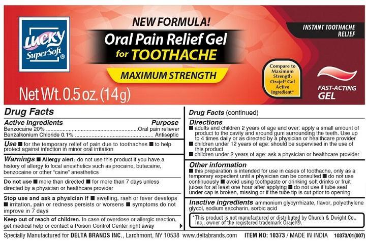 Lucky Oral Pain Relief (Benzocaine Benzalkonium Chloride) Gel [Delta Brands Inc]